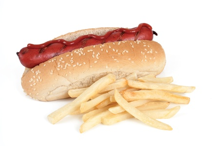 a hot dog with fries on white background