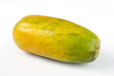 Yellow papaya isolated on white background Foto de archivo