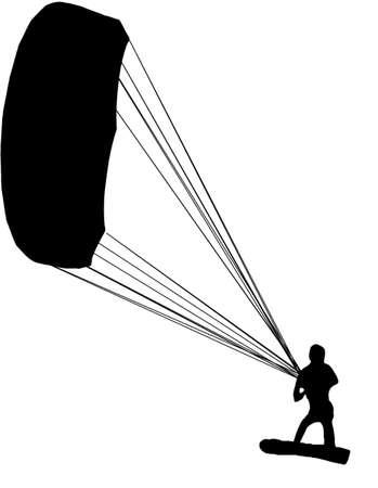 kite surf silhouette Stock Photo
