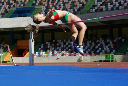 LEIRIA, PORTUGAL - JULY 17: Portuguese Athletics Championship, Marisa Vieira (CSM) high jump women , July 17, 2010 in Leiria, Portugal Stock Photo - 7405521