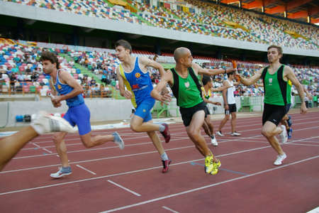LEIRIA, PORTUGAL - JULY 18: Portuguese Athletics Championship, 4x400 meters men , July 18, 2010 in Leiria, Portugal