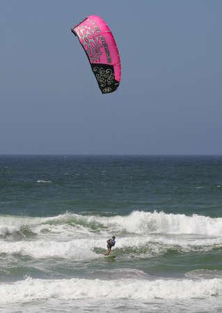 kiter: SANTA CRUZ, PORTUGAL - AUGUST 2: KPWT Kite Pro World Tour, Antoine Auriol (FRA), August  2, 2010 in Santa Cruz, Portugal