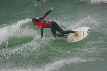 PENICHE, PORTUGAL - OCTOBER 05 :Ana Moreau (FRA) in RipCurl Grom Search Europe Final October 5, 2010 in Peniche, Portugal