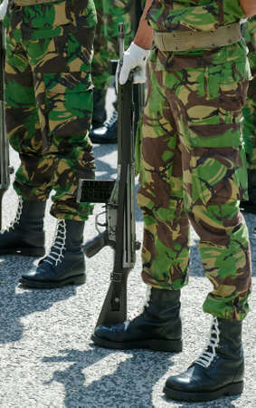 disciplined: Soldiers in army Parade