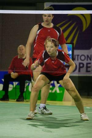CALDAS DA RAINHA, PORTUGAL - NOVEMBER 27 : A. Zinchenko and O. Morozova (RUS) in European Under 17 Championship November 27, 2011 in Caldas da Rainha, Portugal  Stock Photo - 11305666