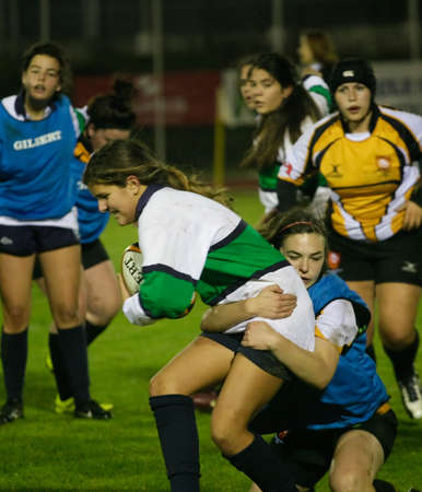 CALDAS DA RAINHA, PORTUGAL - JANUARY 6 : Caldas Rugby Clube (PRT) and Trillium Tigers (CAN) sub-18 mixed trainning in European Tour 2011  January 6, 2012 in Caldas da Rainha, Portugal