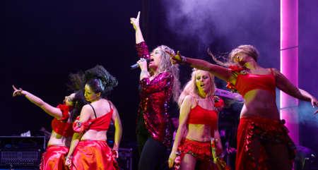 CALDAS DA RAINHA, PORTUGAL - MAY 14: Rebeca performing on stage in Caldas da Rainha city holiday May 14, 2012 in Caldas da Rainha, Portugal Stock Photo - 13685269