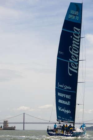 ketch: LISBON, PORTUGAL - JUNE 9: Team Telefonica in Volvo Ocean Race - Lisbon StopOver June - Harbour Race 9, 2012 in Lisbon, Portugal