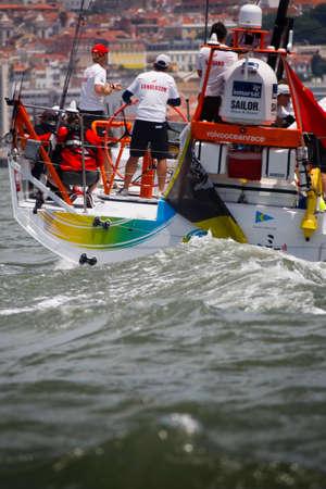 LISBON, PORTUGAL - JUNE 9: Team Sanya in Volvo Ocean Race - Lisbon StopOver June - Harbour Race 9, 2012 in Lisbon, Portugal