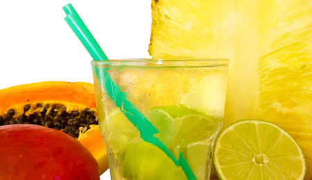 fruit cocktails with fruits isolated  photo