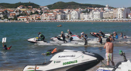 gran prix: SAO MARTINHO DO PORTO, PORTUGAL - AUGUST 5:  Start of race in Gran Prix of Jet Ski 2012 August 5, 2012 in Sao Martinho do Porto, Portugal