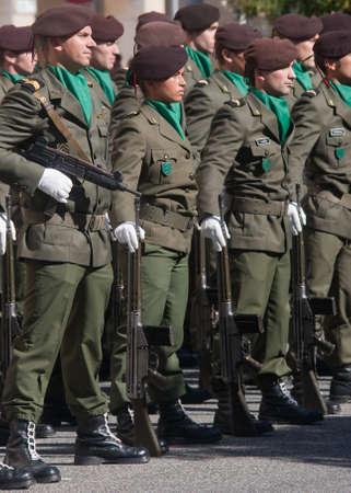 disciplined: CALDAS DA RAINHA, PORTUGAL - OCTOBER 28 : Army Day Parade of Portuguese Army October 28, 2012 in Caldas da Rainha, Portugal