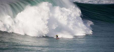 NAZARE, PORTUGAL - NOVEMBER 14 : Garret McNamara in Zon North Canyon 2012 November 14, 2012 in Nazare, Portugal  Stock Photo - 16377161