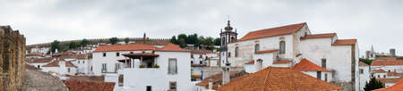 fortified wall: View of Obidos from fortified wall Stock Photo