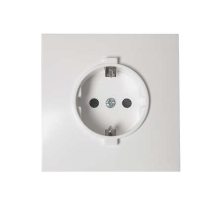 Electric Wall Socket with Wall Plate Isolated photo