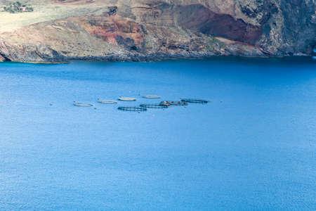 Atlantic fish farm in Madeira Island