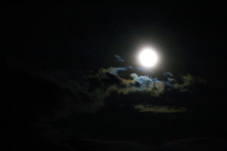 crescent lake: Full moon lightening clouds at black night sky Stock Photo