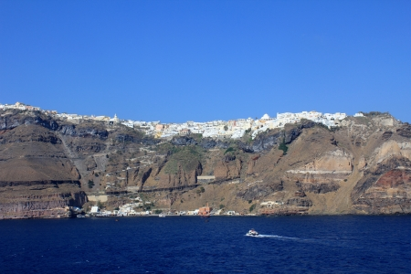 thira: View Of Thira In The Late Afternoon Stock Photo