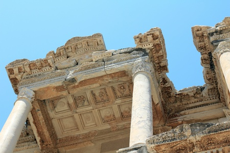 low relief: Detail Of The Antique Library Of Celsus in Ephesus - Turkey