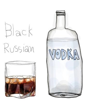 Black Russian en wodka Stockfoto
