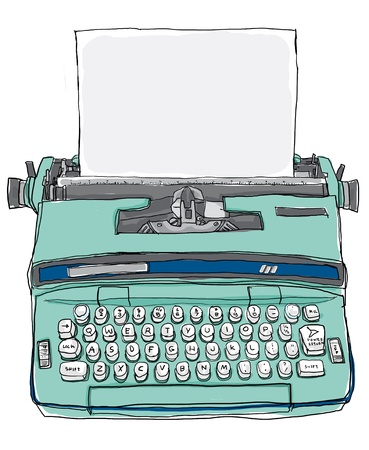 fine art painting: blue Typewriter vintage