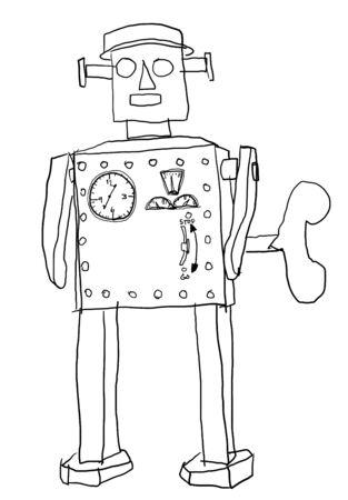 atomic robot man black and white Stock Photo - 14872902