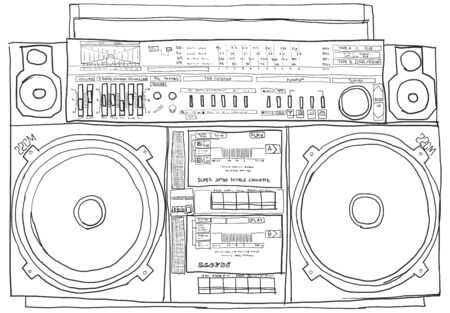 boom-box stereo old school black and white Stock Photo - 14872917