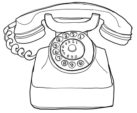 line drawings: old  telephone b&w