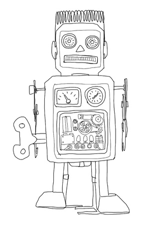 robot vintage toys b&w