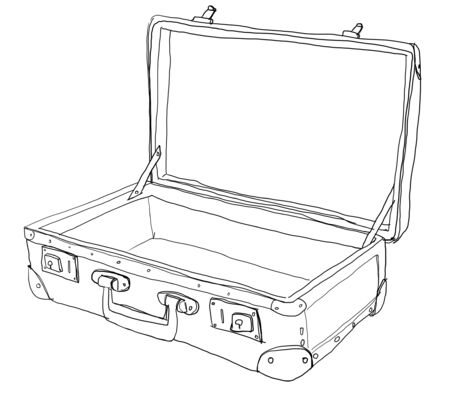 suitcase ,vintage, b w photo