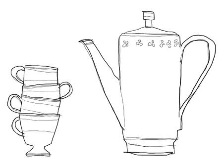 b w: teapot set b w