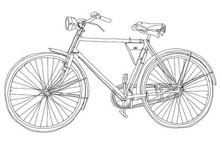 bocetos de personas: la bicicleta del vintage de peso corporal Foto de archivo