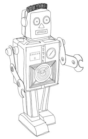 b and w: VINTAGE robot b w