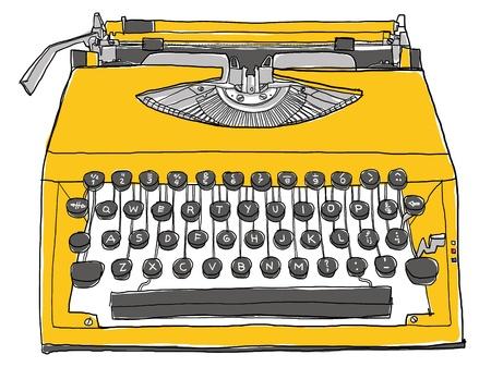 古い黄色のタイプライター