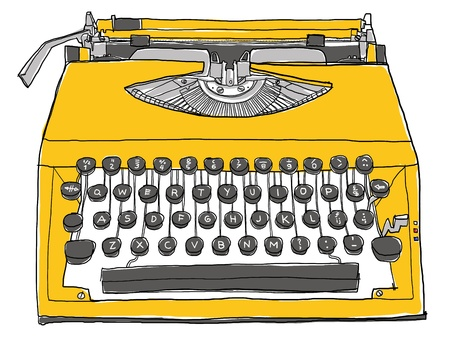 yellow Typewriter old photo