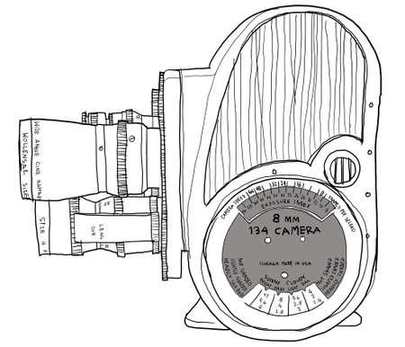 8mm Movie Camera b&w photo