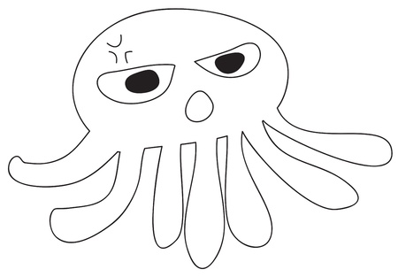 Pink Octopus girl line art Stock Photo - 15500031