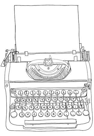 Gray Typewriter old  line art Фото со стока
