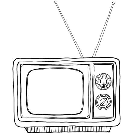 tv vintage line art