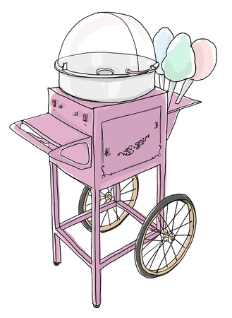 cotton candy: Cotton Candy Cart Old Fashioned line art