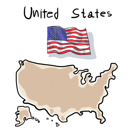 wacom: falg and map of united states painting by wacom Stock Photo