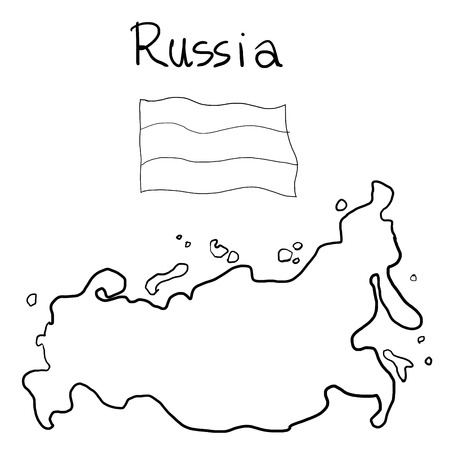 wacom: falg and map of Russia  painting line art by wacom Stock Photo