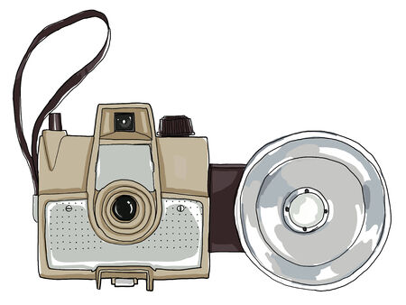 Brown vintage camera with flash photo