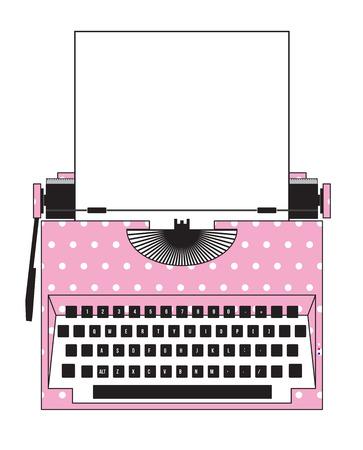 タイプライター ピンクドット 写真素材