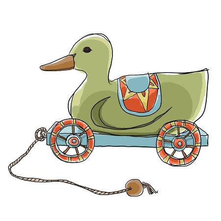 pull toy: Tire pato de juguete de madera Foto de archivo