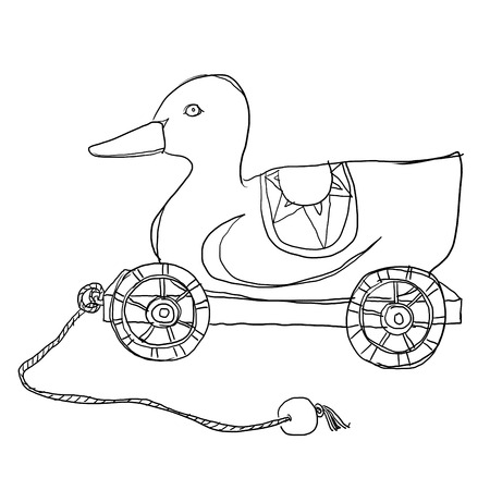 pull toy: Tire pato l�nea de arte de madera de juguete