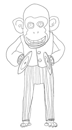 monkey with cymbals monkey with cymbals toys line art