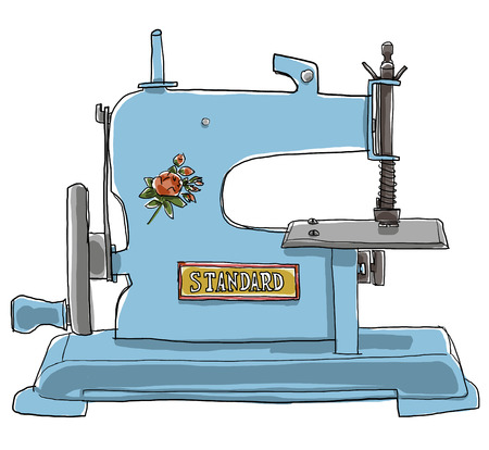 antique chic: Antique toys blue  sewing Machine  French Shabby Chic Old Toy Stock Photo