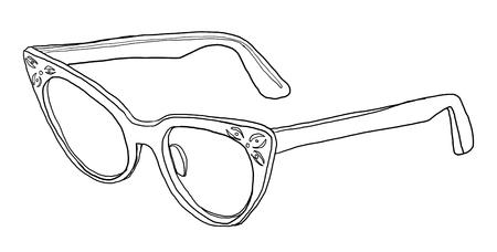cat's eye glasses: blue Cat Eye Glasses line art Stock Photo