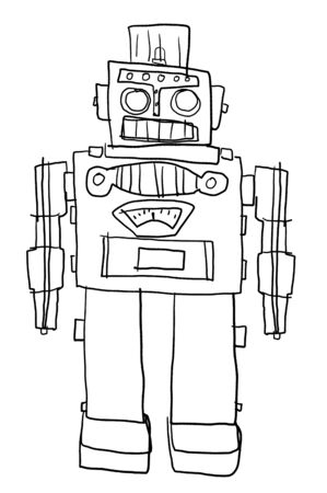 children painting: Retro  Robot toys Children painting style line art